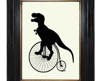 Silhouette Dinosaur Art Print Penny Farthing T-Rex Art Print Unicycle Bicycle Bike - Victorian Steampunk Tyrannosaurus Dino