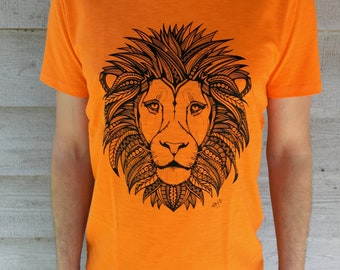 T-shirt Men Orange Lion