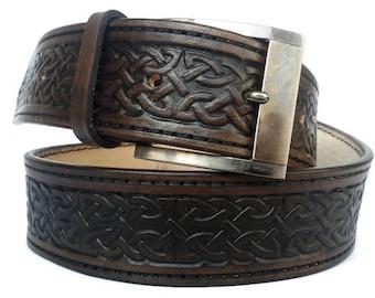 Celtic belt mens genuine leather belt leather belt for men full grain belt handmade belts mens belt custom leather belts brown leather belt