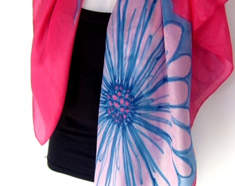 """Hand Painted Silk Scarf,  Floral Silk Scarf, Raspberry Red Turquoise Blue, 35"""" Square Silk Scarf"""