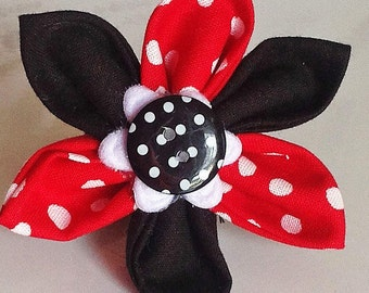 Red and Black Polka Dot Flower for Dog or Cat