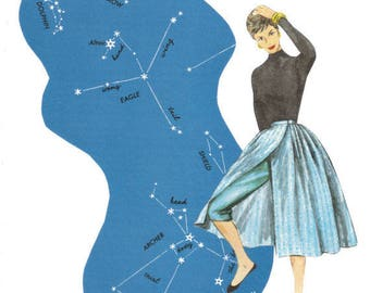 Original Art Collage, Star Artwork, Night Sky Art, Starry Sky Constellations
