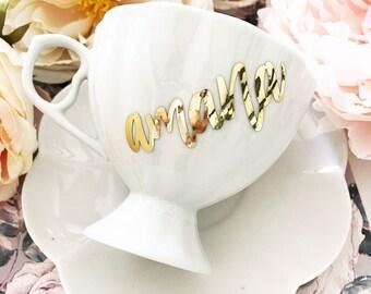 Personalized Tea Cup - Custom Tea Cup - Bridesmaid Tea Cup - Tea Lover Gift for Grandma - Tea Party Decor - Personalized Teacup (EB3263P)