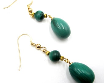 Vintage pair gold filled tear drop malachite earring