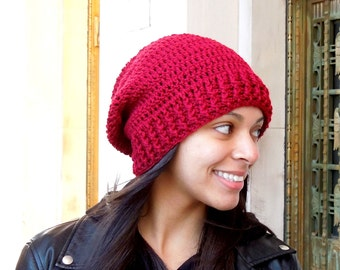 Crochet Slouchy Hat, Women, Teen, Men, Claret, Dark Red,