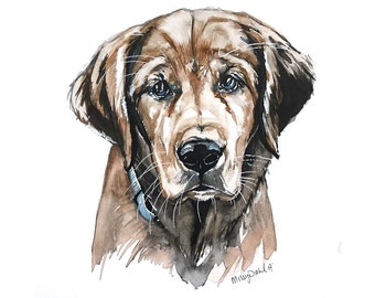 PERSONALIZED 8x10 dog portrait; (photos are examples) custom original watercolor painting on paper