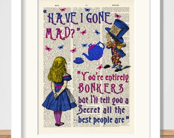 Alice in Wonderland and Mad Hatter Bonkers A4 Art Print, Wall Art, Nursery, Art Poster,Reproduction antique dictionary art