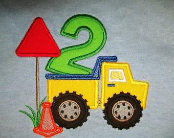 Boy's Construction Dump Truck 2nd Birthday  applique Light Blue  T Shirt  Size 2T