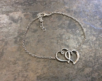 """CLEARANCE Extra Large Ankle Bracelet chain with double heart detail 10-12"""" adjustable Silver anklet"""