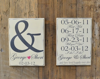 Personalized Wedding Gift, Engagement Gift, Anniversary Gift, Important Date Custom Wood Sign - Edwardian