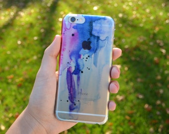 5009 // CLEAR CASE Watercolor Blue Purple Pink iPhone 6, 6S Case iPhone 6, 6S Plus Case