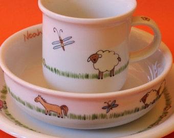 """""""Farm animals"""" 3-piece children Dinnerware"""