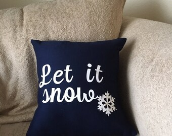 """Let it Snow snowflake holiday pillow cover size 14""""x14"""""""