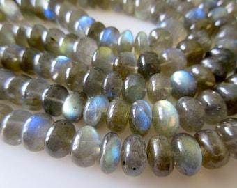 AAA Natural Labradorite Smooth Rondelles Beads, 10mm Labradorite Beads, 8 Inch Strand, GDS192