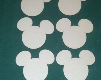 Mickey Mouse shape unfinished wood cutouts (6 pieces)