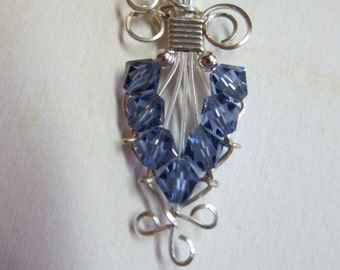 Victorian Style Amethyst Pendant Swarovski Crystal wire wrapped pendant w/ .925 sterling silver wire