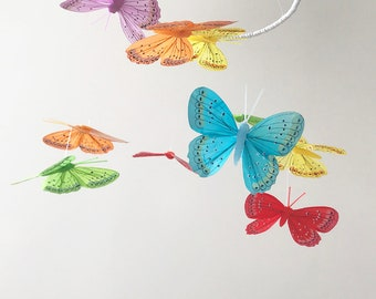 READY TO HANG / Montessori baby mobile / Butterfly mobile / Nursery decoration / 3D mobile / Infant mobile / Crib mobile / Baby nursery