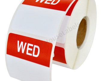 1 Roll of Wednesday Day of the Week Labels (500 labels/roll, 40mmx40mm) BPA Free!