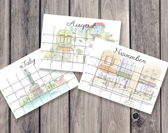 city calendar, fridge calendar, monthly calendar, monthly planner, desk decal calendar