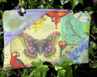 Art Nouveau Themed Butterfly/ Parrot Hand Marbled Zipper Purse framed with hand marbled fabric. Custom & handmarbled fabrics.