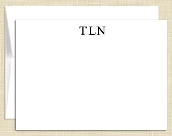 Monogram Stationery - set of 10 - flat note cards - MASCULINE MONOGRAM