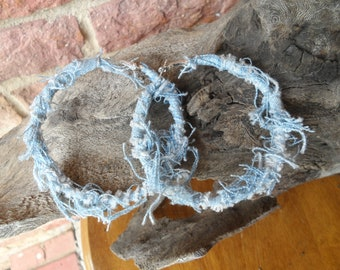Denim upcycled distressed hoops earrings