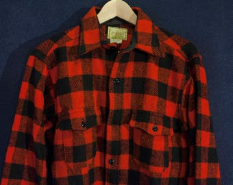 Melton Wintermaster Red Buffalo Check Wool Flannel Heavy Duty Size L Workwear Overshirt