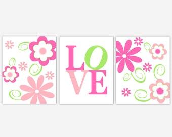 Baby Girl Nursery Wall Art Pink Hot Pink Green Flowers Modern Floral Girl Bedroom Art Prints LOVE Baby Nursery Decor Baby Girl Floral Prints