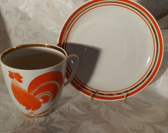 VINTAGE Cup and saucer with a rooster / Cock mid-century cup and saucer / VTG Cup made in Ukrainia collection