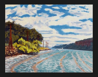 Dobbs Ferry:River and Railroad Tracks, Looking South, Cloudy Day by Ronnie Levine