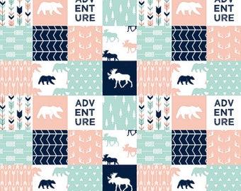 Woodland Baby Girl Bedding, Woodland Crib Bedding, Crib Blanket, Baby Girl Quilt, Pink Navy Mint Teal, Moose Bear Adventure Arrow Antler