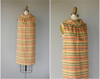 Vintage 1960s Wool Shift Dress | 60s Dress | 1960s Dress | 60s Striped Dress | 1960s Day Dress - (medium)