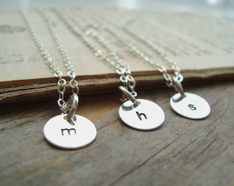Silver Small Personalized Initial Charm Necklace - Quantity of Three - Bridesmaid Set, Custom Initial Disc, Monogram, Weddings, Bridal