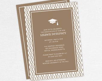 Graduation Invitation, Graduation Announcement, Printable Invite, Invitation PDF, DIY Graduation, Printed Invites, Modern, Boy, Shawn, Brown