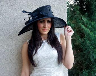 "Black Sun Hat - ""Alexandria"" Black Fascinator Sun Hat w/ mesh flowers and feathers"