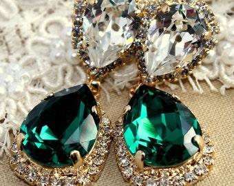 Emerald chandelier earring, Estate earrings, drop emerald earrings - 14 k plated gold  earrings real Swarovski green emerald crystals.