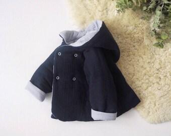 "Baby réversible ""Lutin"" jacket, Baleine, made in France, kimono sleeve, Double gauze"