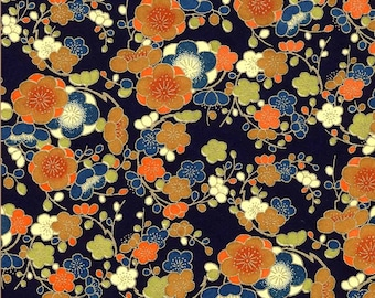 Chiyogami or yuzen paper - mango blossoms with metallic gold on indigo, 9x12 inches