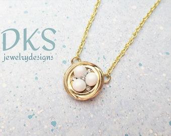 Birds Nest Pendant, Swarovski, Pearls, Mothers Day, New Mom, Crystal, Adjustable, DKSJewelrydesigns, FREE SHIPPING