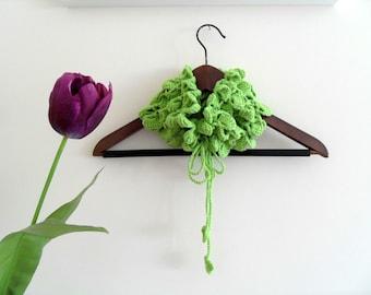 Crocheted Neckwarmer Pistachio Green Soft Neckwarmer, Shawl, Cowl,Lime -Peridot Tulip TeamT
