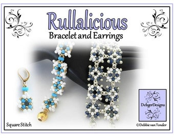 Beading Pattern, Tutorial, Bracelet and Earrings - RULLALICIOUS