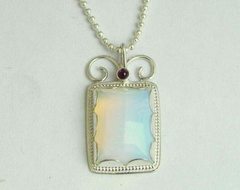 Sterling silver pendant, bridal necklace, opalite necklace, gemstone necklace, opalite and tiny garnet stones - Once upon a time. N8837