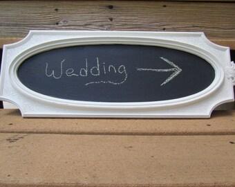 Chalk board,Shabby chic decor,chalkboard sign, wedding sign, message board, ornate frame, white frame.sign,black board,