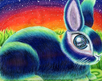 Bunneye - Giclee Print of Original Colored Pencil Drawing