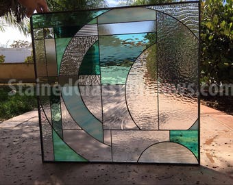 """Gorgeous! The """" Bermuda""""   Leaded Stained Glass Window Panel     (We do custom work, email for a quick quote)"""