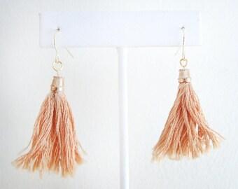 Tassel Earrings - Orange/Peach - French Hook