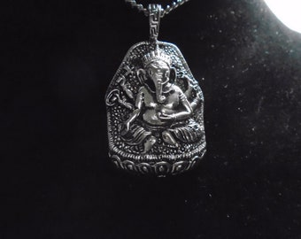"""Big """"GANESH"""" Silver pendant 1.75"""" antique 925 silver plated  necklace 27"""" chain"""
