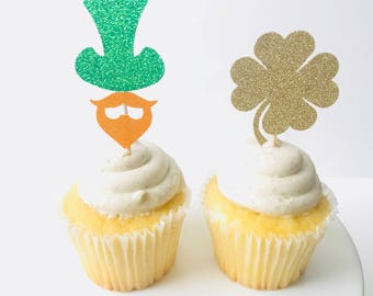 St. patrick's day gender reveal cupcake toppers/ St. Patrick's day gender reveal/ set of 12