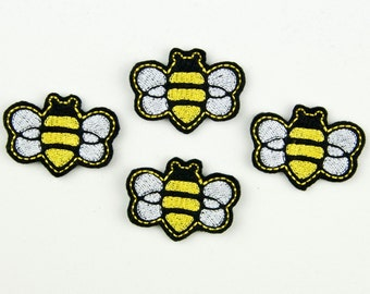 BUMBLEBEE - Embroidered Felt Embellishments / Appliques - Black, White & Yellow  (Qnty of 4) SCF6025