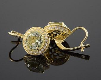 Quartz earrings, Antique earrings, Unique earrings, Modern earrings, Women earrings, Geometric earrings, Halo earrings, Sparkle earrings